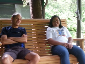 Liza and her boss, Howard, talk at the cabin on July 2,2015.