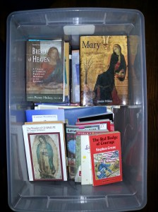 These books are going with me back to Boston. Most of them are from Sister Lou Ella Hickman. A few on the lower right-hand corner are the remnants of my personal book collection. (Aug. 12, 2015)