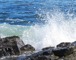 The sound of the water crashing or lapping on the shore was soothing. Waves were crashing on the rocks near Biddeford, Maine, on Aug. 28.