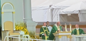 Pope Francis gives his homily at the Ben Franklin Parkway in Philadelphia on Sunday, Sept. 20, 2015.