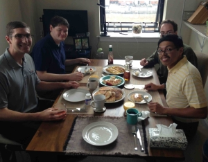 Leland, Brenden, Colin and I are ready for a hearty breakfast at Monica and Jacob's apartment on Saturday, Sept. 26, 2015. (Photo courtesy of Jeremy Lee)