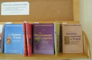 The monastery were offering books by Father Timothy Gallagher, OMV.