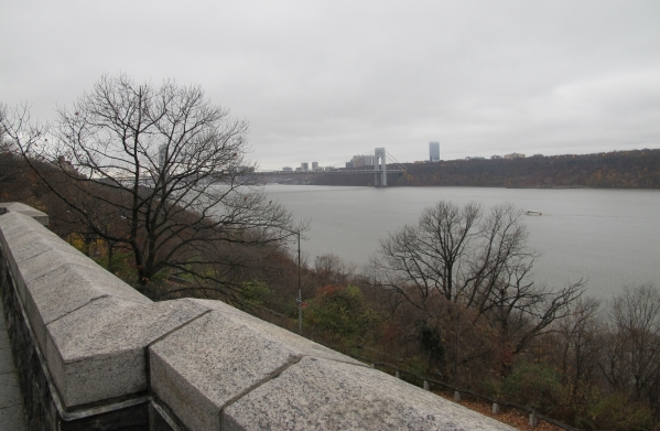 A view of the George Washington Bridge from the East Terrace of the Cloisters in Fort Tyron Park in New York on Nov. 28, 2015.