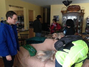 I talked with my mother in the background with Colin, Teddy (blurry dog), Liza holding Chip and Joel in the foreground at my family's house on Nov. 28, 2015. (Photo courtesy of Jeremy Lee)