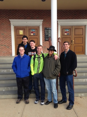 Colin (from left), Juan, Brenden, Joel, I and Leland stand outside my childhood parish St. Anthony's in South Ozone Park, N.Y., on Nov. 28, 2015. (Photo courtesy of Jeremy Lee)