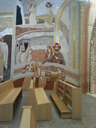 The miracle at the wedding at Cana is one of many mosaics in the Luminous Mysteries Chapel at the St. John Paul II National Shrine in Washington, D.C., on Saturday, July 16, 2016.