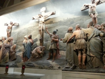 The crucifixion is depicted at the Franciscan Monastery in Washington, D.C., on Saturday, July 16, 2016.