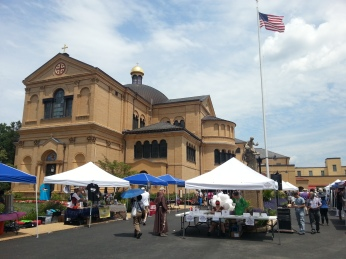 Vendors and booths are set up outside the church at the Franciscan Monastery in Washington, D.C., on Saturday, July 16, 2016.