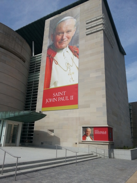 St. John Paul II greets visitors twice at the St. John Paul II National Shrine in Washington, D.C., on Saturday, July 16, 2016.