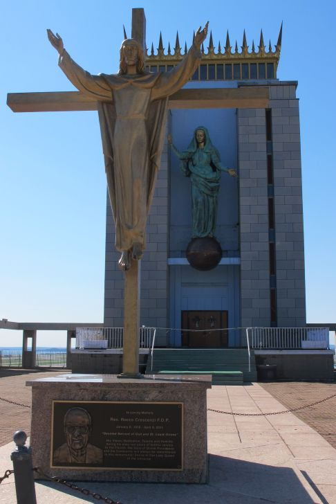 The crucifix at the outdoor plaza at Madonna, Queen of the Universe Shrine on Orient Heights in East Boston on Saturday, Sept. 29, 2018.