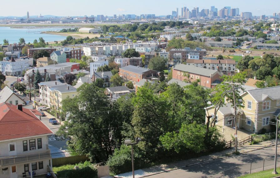 From the shrine, I could see the Boston skyline, airport and surrounding neighborhood.
