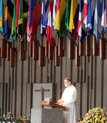 Fr. Craig proclaims the Gospel at the 10 a.m. Mass at the Basilica of Our Lady of Guadalupe on Monday, July 15, 2019.