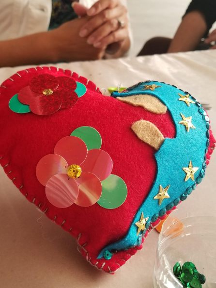 The rear of the heart, which we left behind at the Guadalupana Museum on Sunday, July 14, 2019.