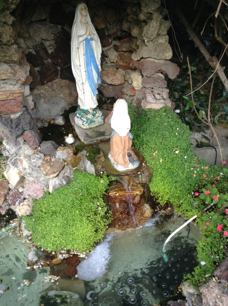 Toward the end of my Rosary walk, I would stop by this grotto dedicated to Lourdes in the Sacred Heart Retreat Center in Alhambra, Calif. I sometimes enjoyed watching the bubbles in the pool.